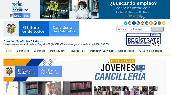 Página de la Cancillería de Colombia
