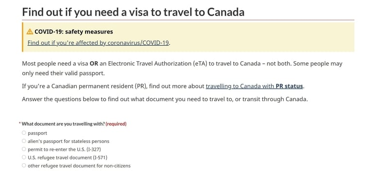 requisitos visa canada