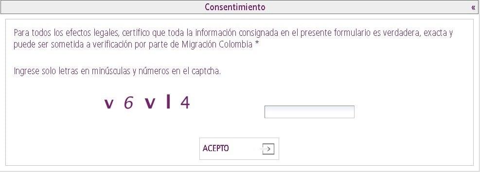 Consentimiento para solicitud de certificado de movimientos migratorios y nacionalidad