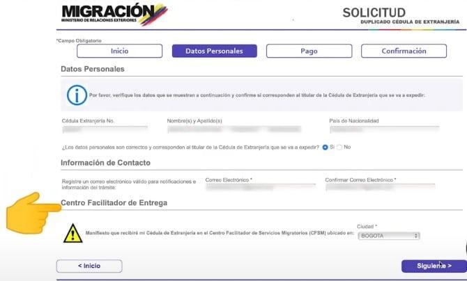 Datos personales para solicitud de duplicado de cédula de extranjería