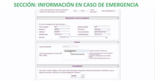 Información para casos de emergencia en formulario para prórroga de permanencia