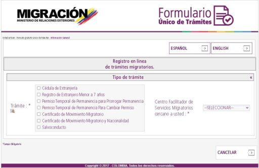 Página oficial del Formulario único de trámites de migración Colombia para realizar el trámite en línea