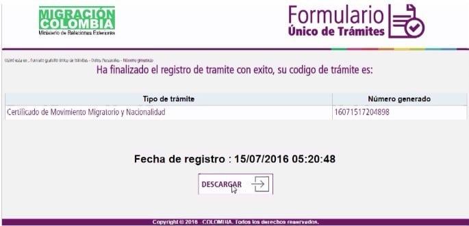 Registro finalizado para certificado de movimiento migratorio y nacionalidad