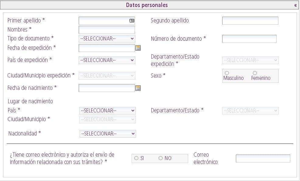 Sección de los datos personales para tramitar cédula de extranjería