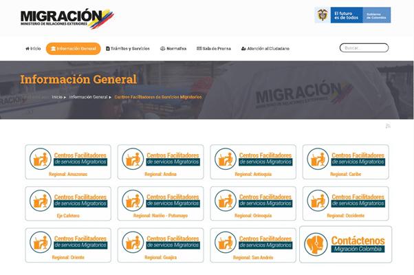 Centros facilitadores de servicios migratorios en Colombia (CFSM)