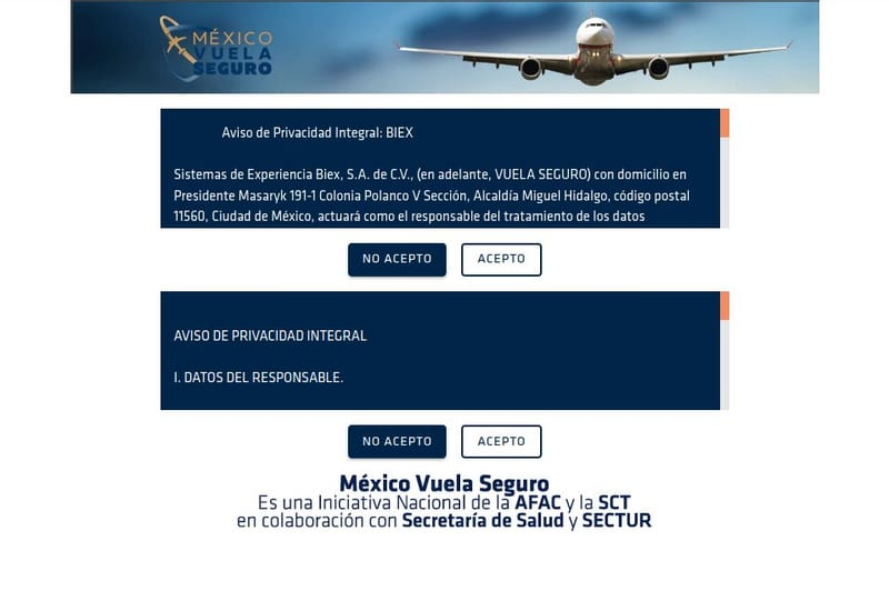 condiciones de registro en vuela seguro