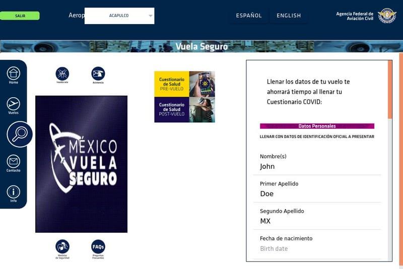 cuestionario sanitario para viajar a mexico