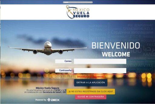 portal de inicio para solicitar cuestionario sanitario para viajar a mexico