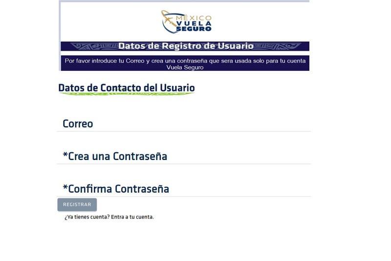 formulario de registro de usuario en vuela seguro mexico